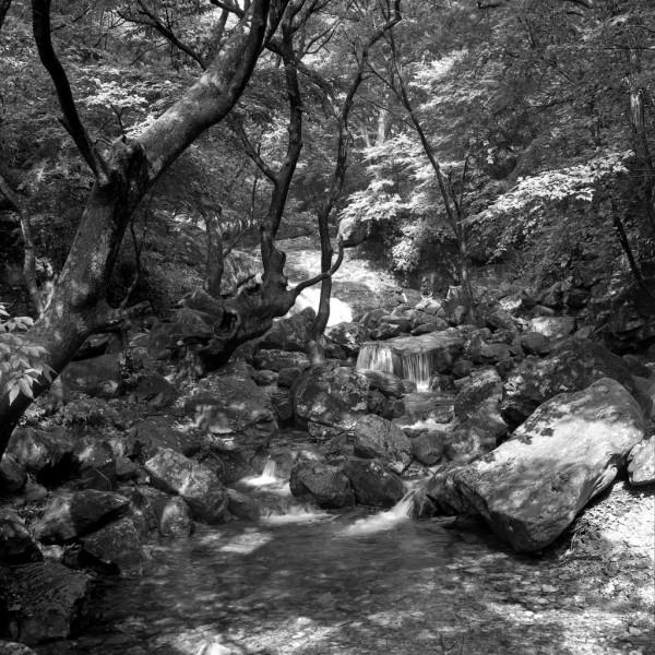 wildbach im Gyeryongsan-nationalpark, südkorea 1991