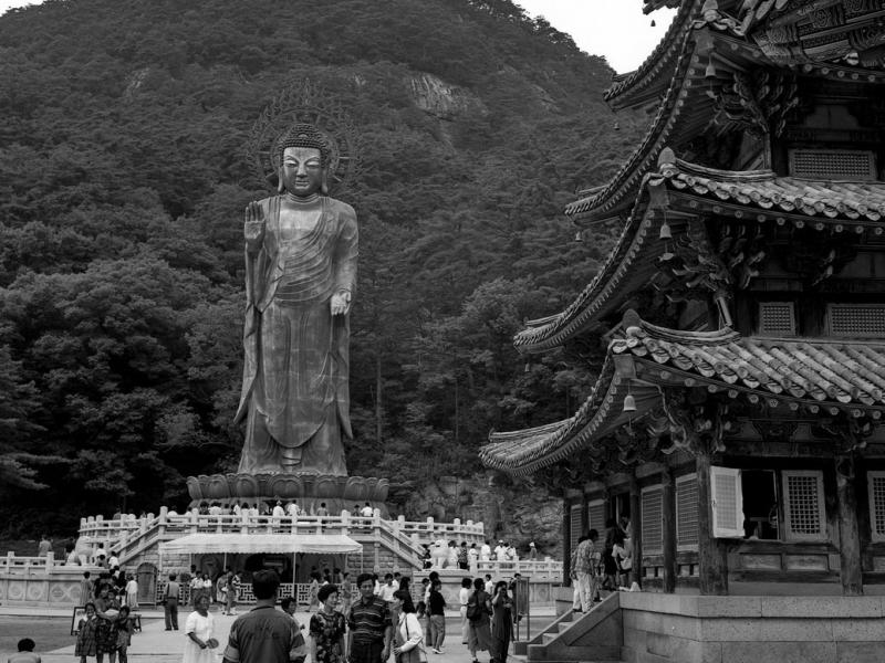 Beopjusa Temple, die große buddha-statue, südkorea, 1991