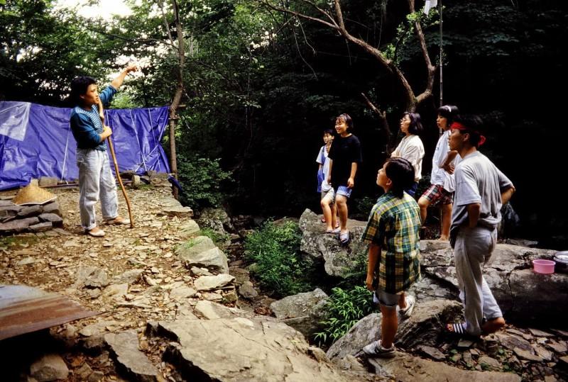 einsiedler auf dem ososan, ausflug mit song-won lee u.a., südkorea 1991