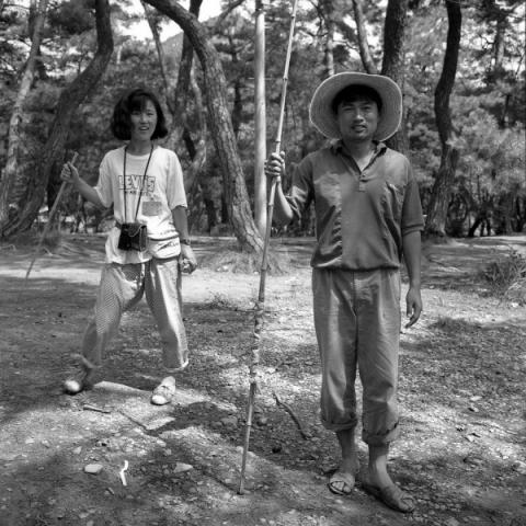 auf schlangenjagd, natur und kunstsymposion, kongju, südkorea 1991