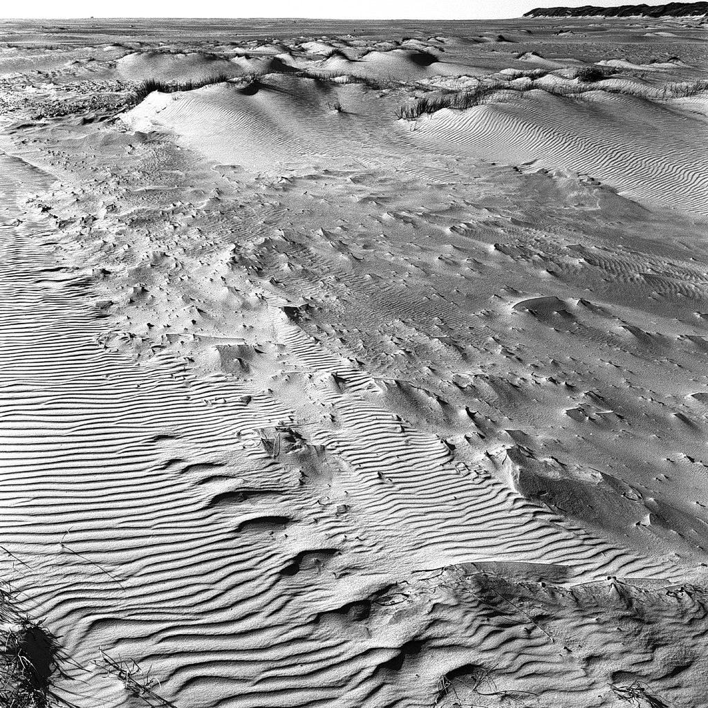 strukturen am meer, kniepsand, amrum 2003, schwarz-weiß