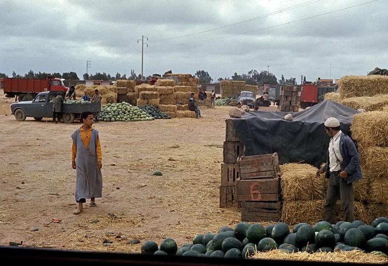 von casablanca per anhalter nach tan tan (ca 800km) ,melonenmarkt in ait melloul, 1969
