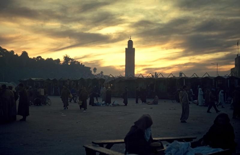 marrakech, djemal el fna, abends, 1969