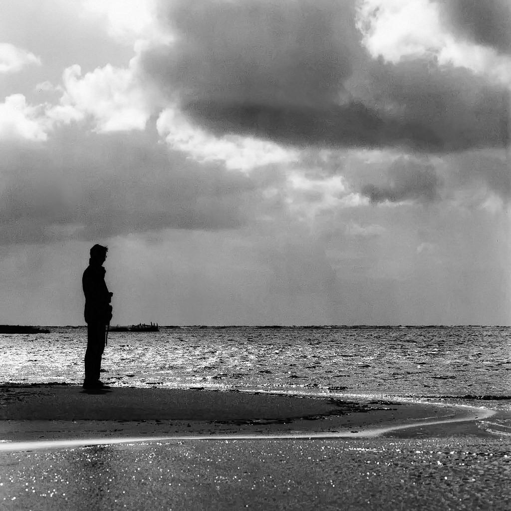 am meer, kniepsand, amrum 2003, schwarz-weiß