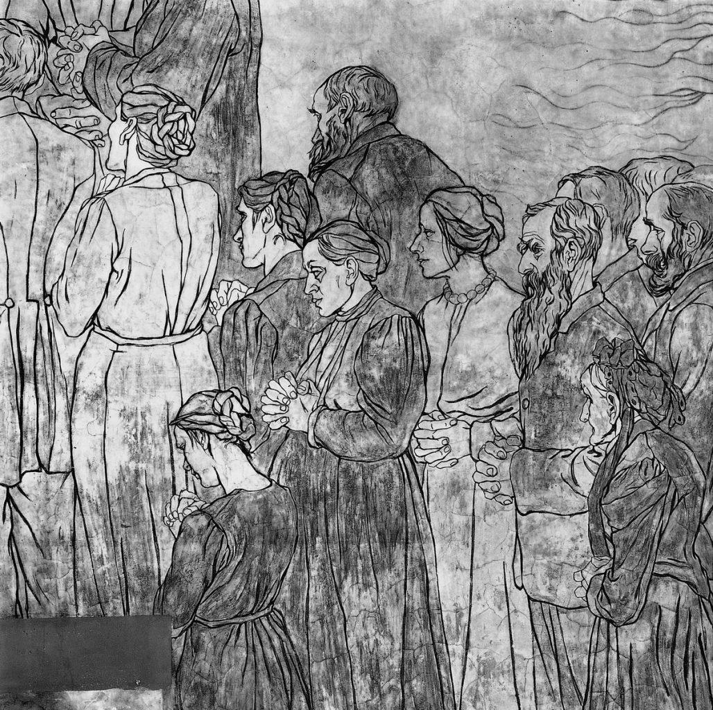 flensburg, heilandskapelle, wandgemälde von käthe lassedn (ausschnitt), 1999